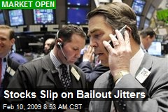 Stocks Slip on Bailout Jitters