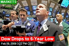Dow Drops to 6-Year Low