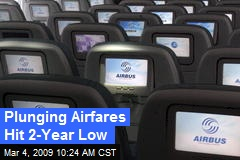 Plunging Airfares Hit 2-Year Low