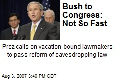 Bush to Congress: Not So Fast
