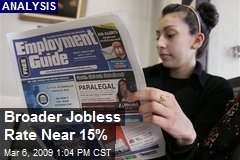 Broader Jobless Rate Near 15%