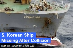 S. Korean Ship Missing After Collision