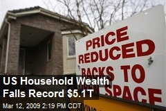 US Household Wealth Falls Record $5.1T