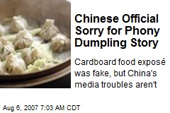 Chinese Official Sorry for Phony Dumpling Story