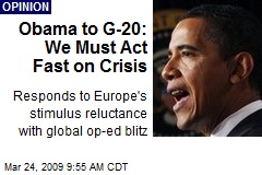 Obama to G-20: We Must Act Fast on Crisis