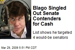 Blago Singled Out Senate Contenders for Cash