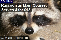Raccoon as Main Course: Serves 4 for $12