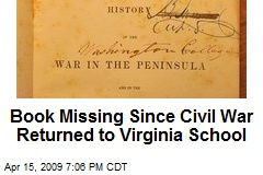 Book Missing Since Civil War Returned to Virginia School
