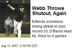 Webb Throws Shutout, Again