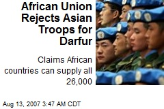 African Union Rejects Asian Troops for Darfur