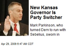 New Kansas Governor Is Party Switcher