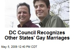 DC Council Recognizes Other States' Gay Marriages