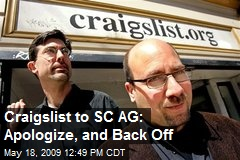 Craigslist to SC AG: Apologize, and Back Off