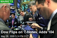 Dow Flips on T-Notes, Adds 104