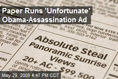 Paper Runs 'Unfortunate' Obama-Assassination Ad