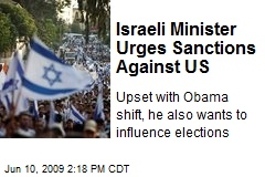 Israeli Minister Urges Sanctions Against US