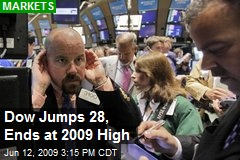Dow Jumps 28, Ends at 2009 High