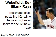 Wakefield, Sox Blank Rays