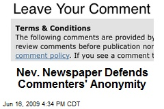 Nev. Newspaper Defends Commenters' Anonymity