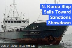 N. Korea Ship Sails Toward Sanctions Showdown
