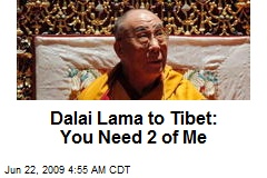 Dalai Lama to Tibet: You Need 2 of Me