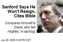 Sanford Says He Won't Resign, Cites Bible