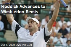 Roddick Advances to Wimbledon Semis