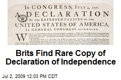 Brits Find Rare Copy of Declaration of Independence