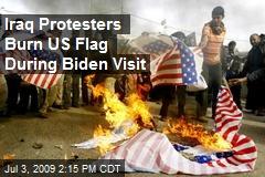 Iraq Protesters Burn US Flag During Biden Visit