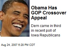 Obama Has GOP Crossover Appeal