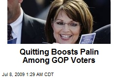 Quitting Boosts Palin Among GOP Voters