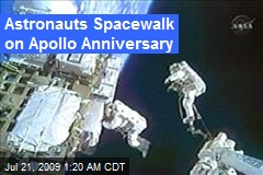 Astronauts Spacewalk on Apollo Anniversary