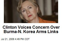 Clinton Voices Concern Over Burma-N. Korea Arms Links
