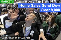 Home Sales Send Dow Over 9,000