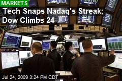Tech Snaps Nadaq's Streak; Dow Climbs 24