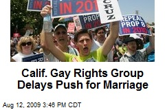 Calif. Gay Rights Group Delays Push for Marriage