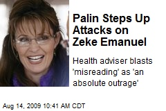 Palin Steps Up Attacks on Zeke Emanuel