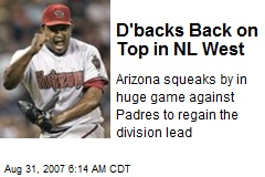D'backs Back on Top in NL West