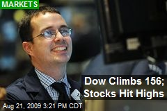 Dow Climbs 156; Stocks Hit Highs