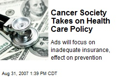 Cancer Society Takes on Health Care Policy