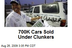 700K Cars Sold Under Clunkers