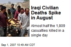 Iraqi Civilian Deaths Spike in August