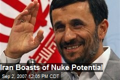 Iran Boasts of Nuke Potential