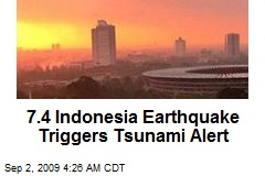 7.4 Indonesia Earthquake Triggers Tsunami Alert