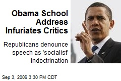 Obama School Address Infuriates Critics