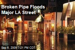 Broken Pipe Floods Major LA Street