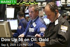 Dow Up 56 on Oil, Gold