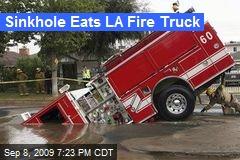 Sinkhole Eats LA Fire Truck