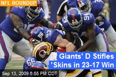 Giants' D Stifles 'Skins in 23-17 Win