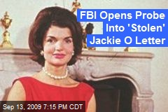 FBI Opens Probe Into 'Stolen' Jackie O Letter